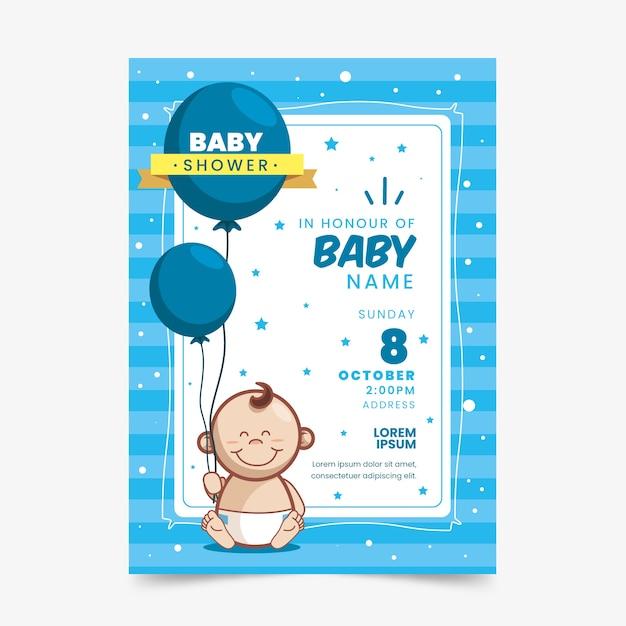 Szablon Zaproszenia Baby Shower (chłopiec) Darmowych Wektorów