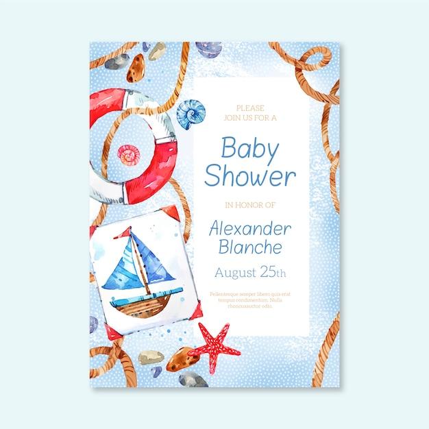 Szablon Zaproszenia Baby Shower Dla Chłopca Darmowych Wektorów