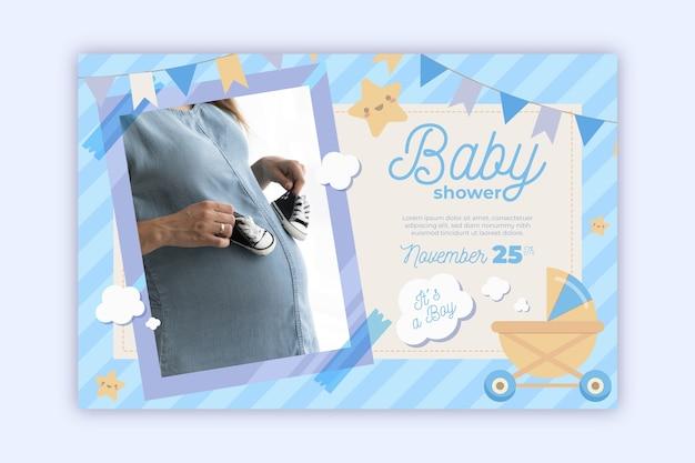 Szablon Zaproszenia Baby Shower Ze Zdjęciem (chłopiec) Darmowych Wektorów
