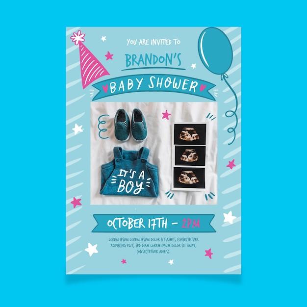 Szablon Zaproszenia Baby Shower Ze Zdjęciem Dla Chłopca Darmowych Wektorów