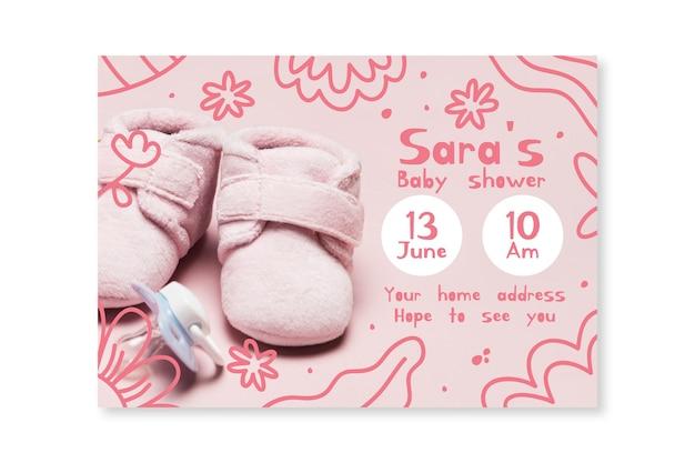 Szablon Zaproszenia Baby Shower Ze Zdjęciem Darmowych Wektorów