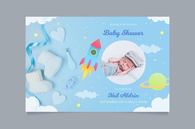 Szablon Zaproszenia Baby Shower Darmowych Wektorów