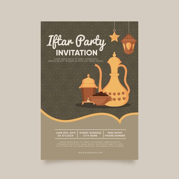 Szablon Zaproszenia Iftar Kreatywnych Płaska Konstrukcja Darmowych Wektorów