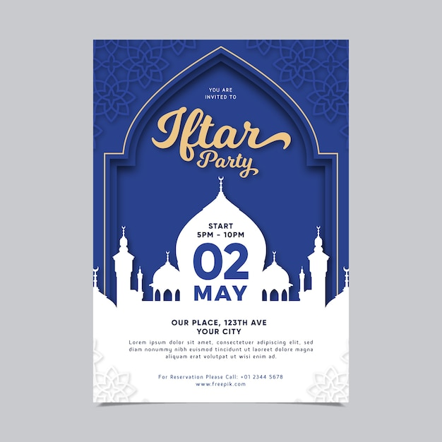 Szablon Zaproszenia Iftar Płaska Konstrukcja Premium Wektorów