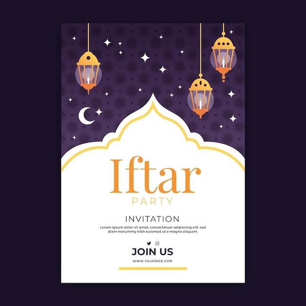 Szablon Zaproszenia Iftar Urządzony Darmowych Wektorów