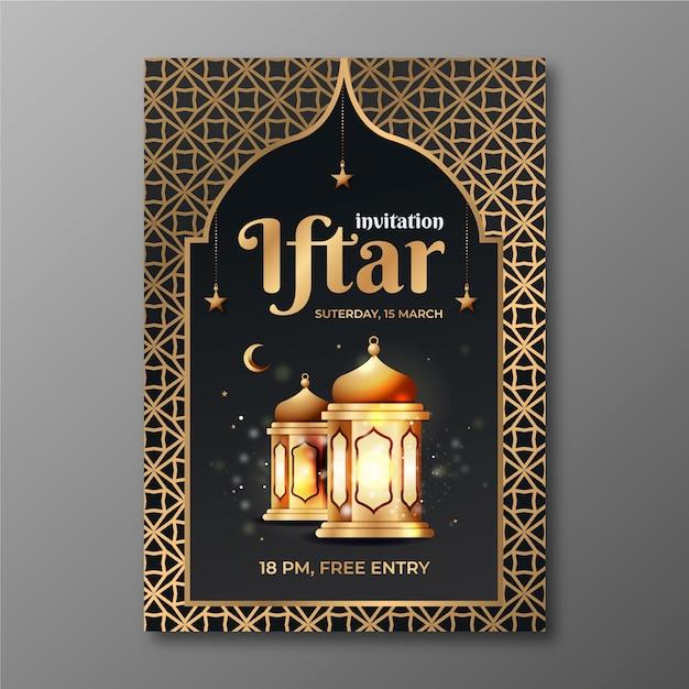 Szablon Zaproszenia Iftar Z Realistycznym Obrazem Darmowych Wektorów