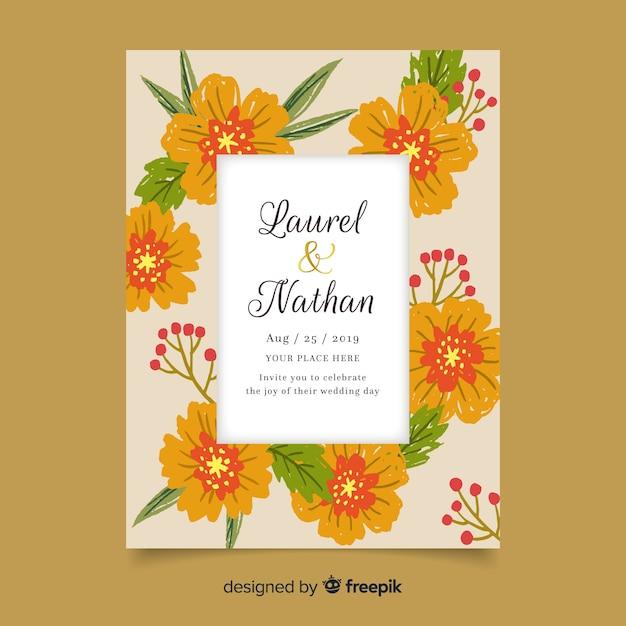 Szablon zaproszenia kolorowy kwiatowy ślub Darmowych Wektorów
