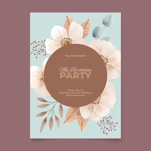 Szablon Zaproszenia Kwiatowy Urodziny Akwarela Darmowych Wektorów