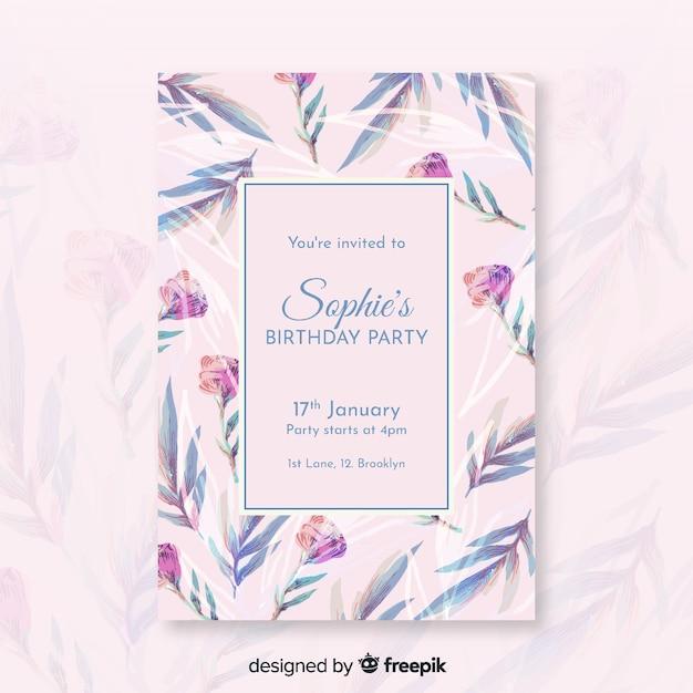 Szablon zaproszenia ładny kwiatowy urodziny Darmowych Wektorów