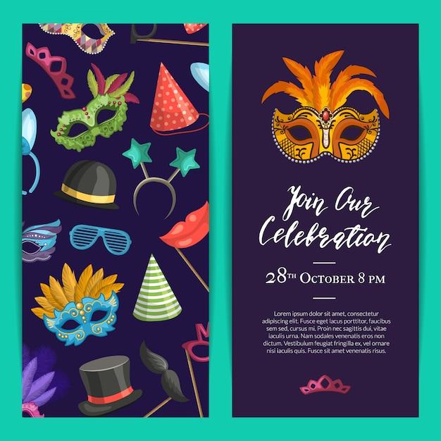 Szablon zaproszenia na przyjęcie z maskami i akcesoriami imprezowymi Premium Wektorów