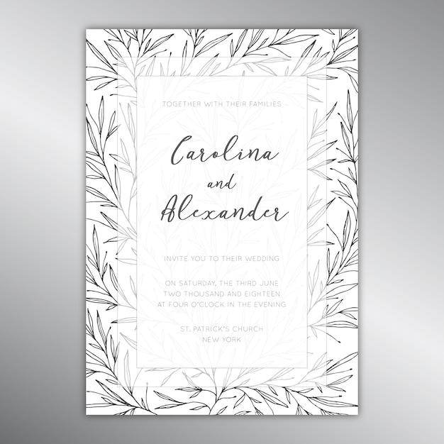 Szablon Zaproszenia Na ślub Z Motywem Botanicznym Darmowych Wektorów