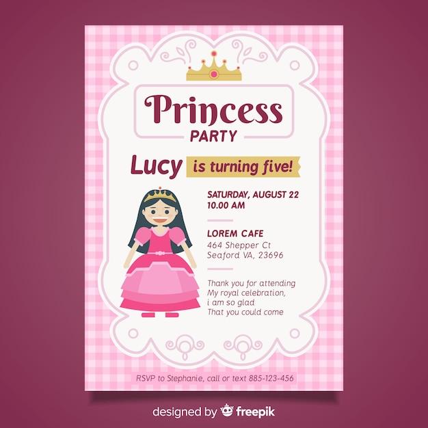 Szablon Zaproszenia Party Księżniczka Płaski Darmowych Wektorów