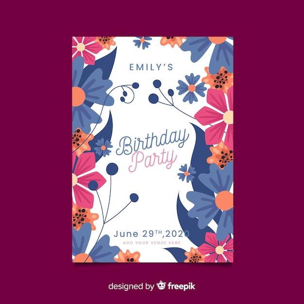 Szablon zaproszenia piękny kwiatowy urodziny Darmowych Wektorów