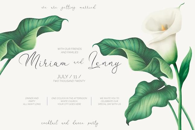Szablon Zaproszenia Piękny ślub Z Białych Lilii Darmowych Wektorów