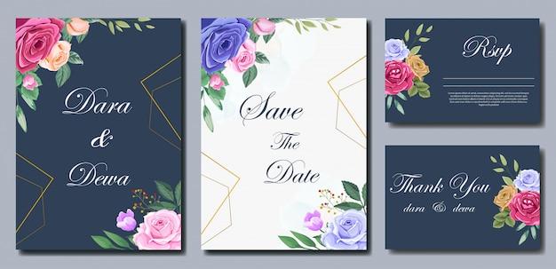 Szablon zaproszenia piękny ślub z kwiatami Premium Wektorów