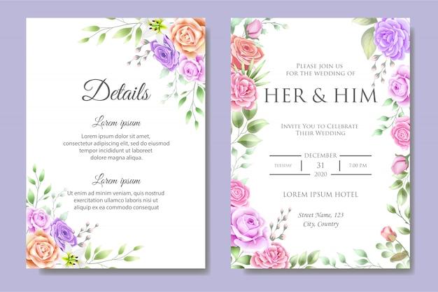 Szablon Zaproszenia Piękny ślub Premium Wektorów