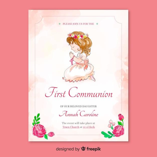 Szablon zaproszenia pierwszej komunii Darmowych Wektorów