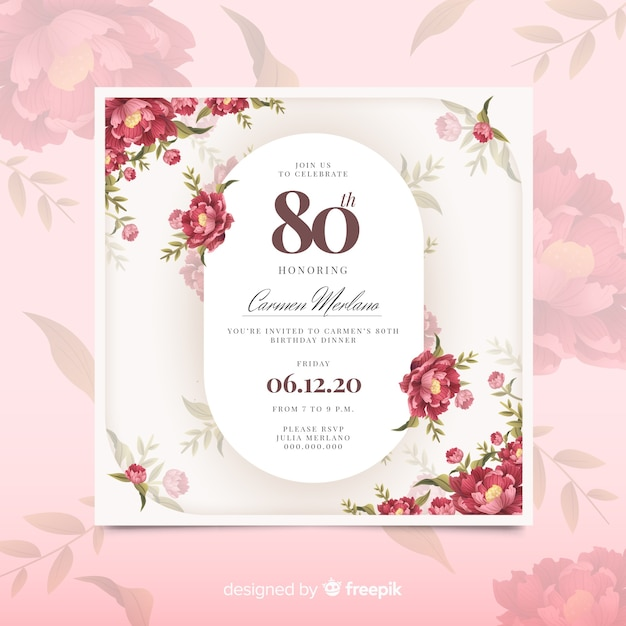 Szablon zaproszenia różowy kwiatowy urodziny Darmowych Wektorów