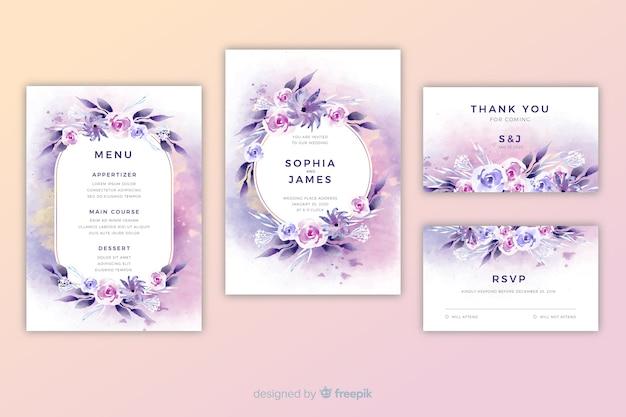 Szablon zaproszenia ślubne akwarela kwiatowy Darmowych Wektorów
