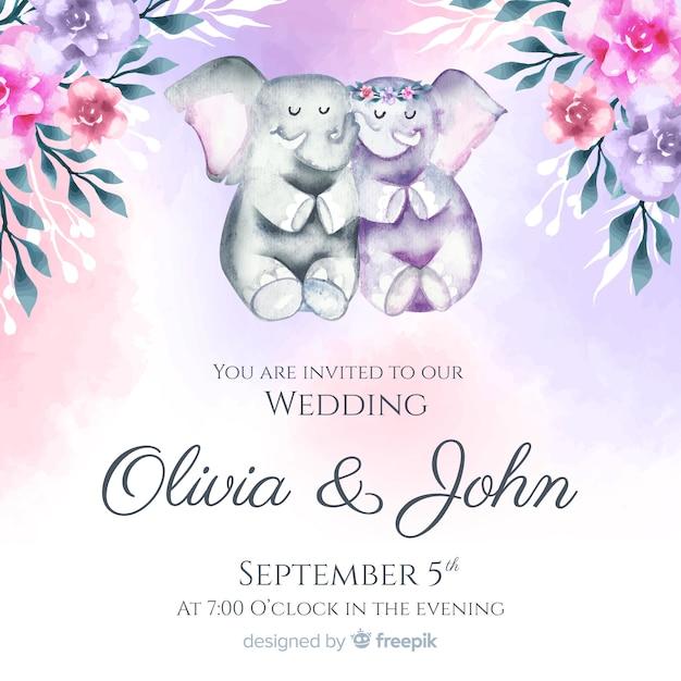 Szablon Zaproszenia ślubne Akwarela Zwierząt Darmowych Wektorów