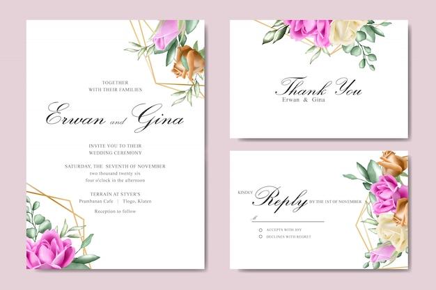 Szablon zaproszenia ślubne akwarela Premium Wektorów