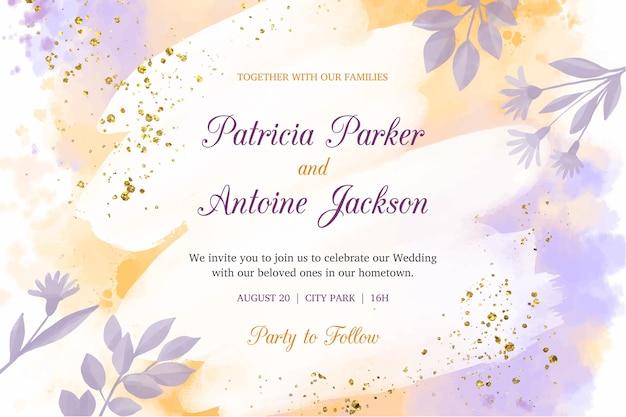 Szablon Zaproszenia ślubne Akwarela Darmowych Wektorów