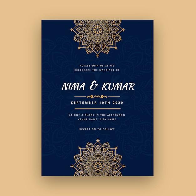 Szablon Zaproszenia ślubne Indyjskie Darmowych Wektorów