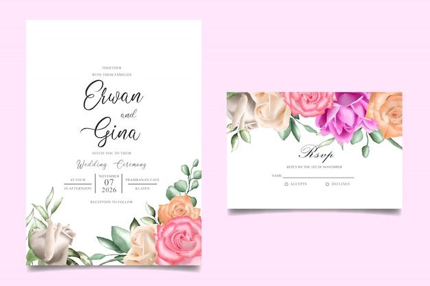 Szablon zaproszenia ślubne karty z akwarela kwiatowy Premium Wektorów
