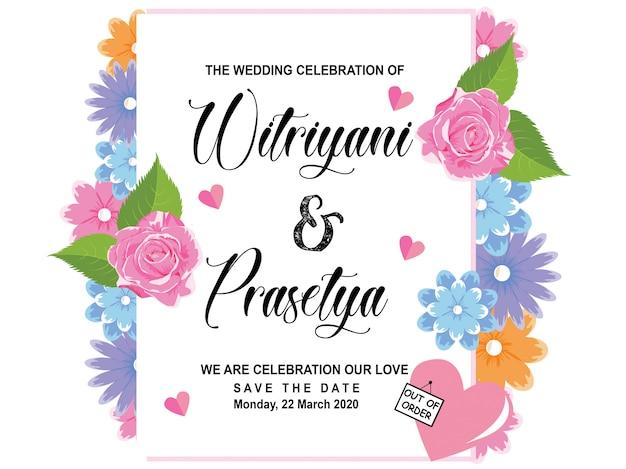 Szablon zaproszenia ślubne kwiat Premium Wektorów