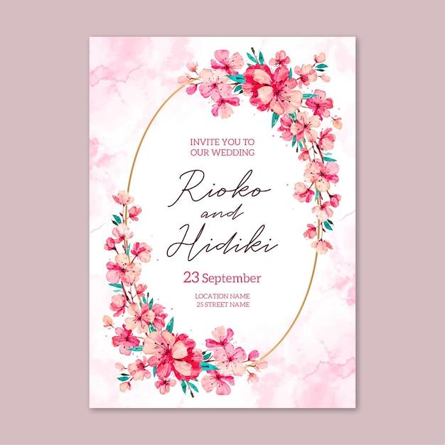 Szablon Zaproszenia ślubne Kwiatowy Japoński Darmowych Wektorów