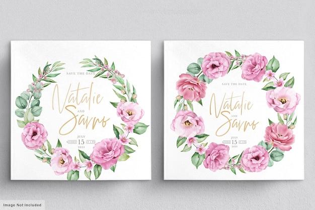 Szablon Zaproszenia ślubne Kwiatowy Z Różowymi Różami, Kwiatami I Liśćmi Darmowych Wektorów