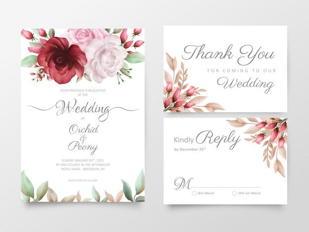 Szablon zaproszenia ślubne kwiatowy zestaw akwarela róż i kwiaty piwonii Premium Wektorów