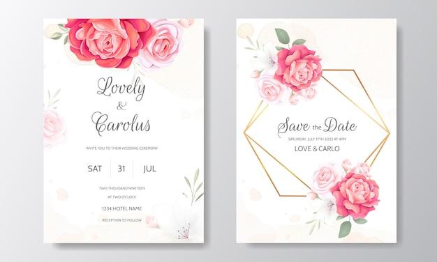 Szablon Zaproszenia ślubne Kwiatowy Zestaw Z Pięknymi Kwiatami Granicy Premium Wektorów