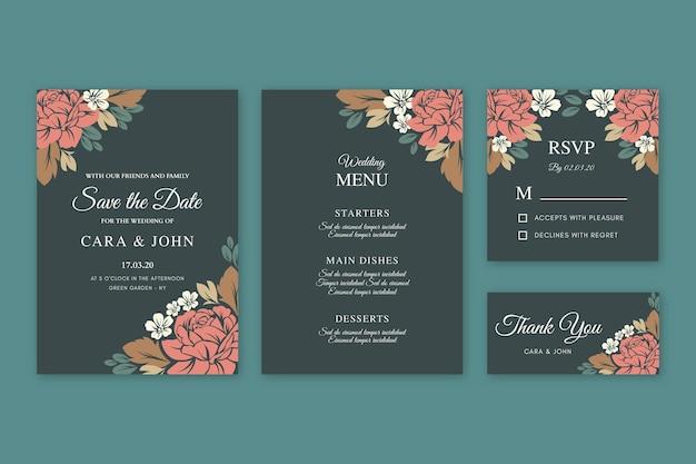 Szablon zaproszenia ślubne kwiatowy Darmowych Wektorów