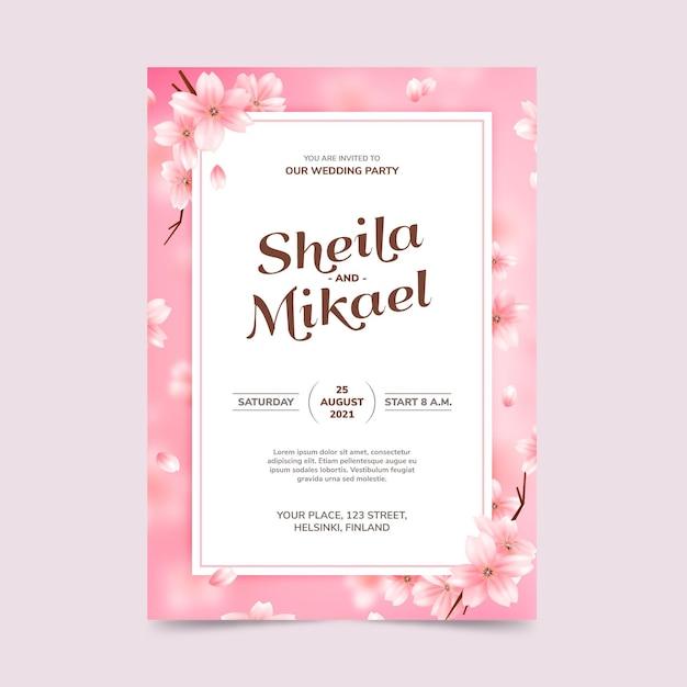 Szablon Zaproszenia ślubne Kwiatowy Premium Wektorów