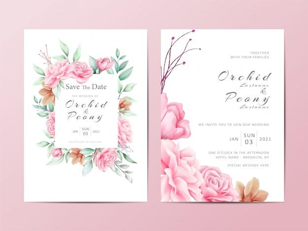 Szablon zaproszenia ślubne liści zestaw kwiatów róż akwarela Premium Wektorów
