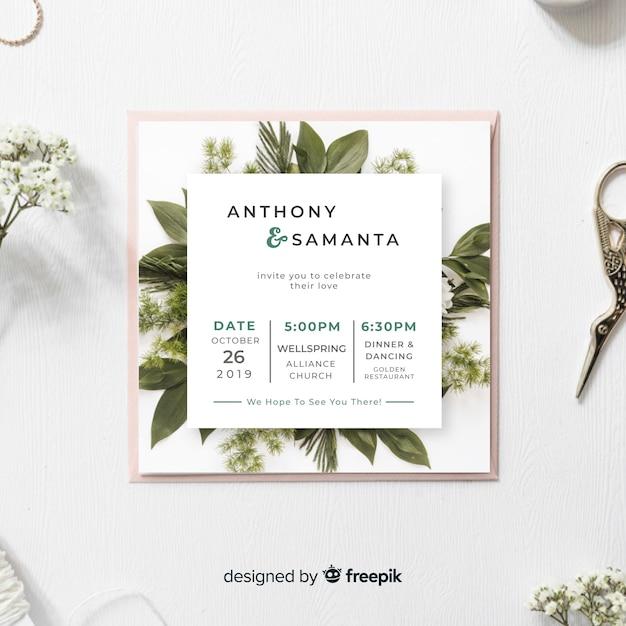 Szablon zaproszenia ślubne liści Darmowych Wektorów
