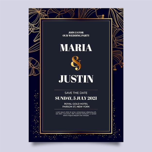 Szablon Zaproszenia ślubne Luksusowe Darmowych Wektorów