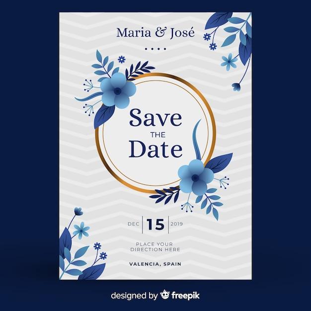 Szablon zaproszenia ślubne niebieski kwiatowy w płaska konstrukcja Darmowych Wektorów