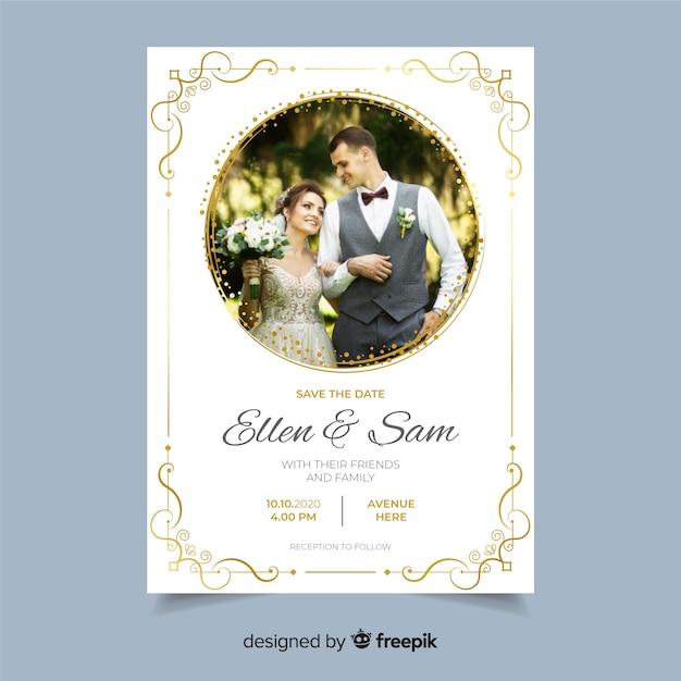 Szablon zaproszenia ślubne ozdobne ze zdjęciem Darmowych Wektorów