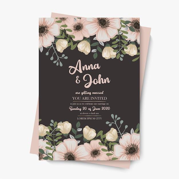 Szablon Zaproszenia ślubne Pastelowe Kwiatowy Darmowych Wektorów
