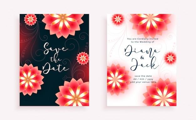 Szablon Zaproszenia ślubne Piękne Kwiaty Stylu Darmowych Wektorów