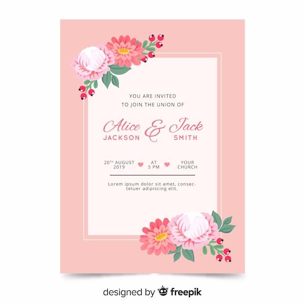 Szablon zaproszenia ślubne płaski kwiatowy Darmowych Wektorów