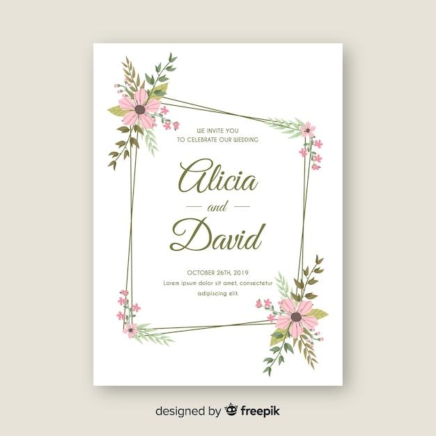 Szablon zaproszenia ślubne rama kwiatowy Darmowych Wektorów