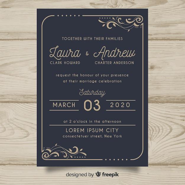 Szablon zaproszenia ślubne retro Darmowych Wektorów