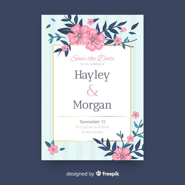 Szablon zaproszenia ślubne szczegóły kwiatowe Darmowych Wektorów