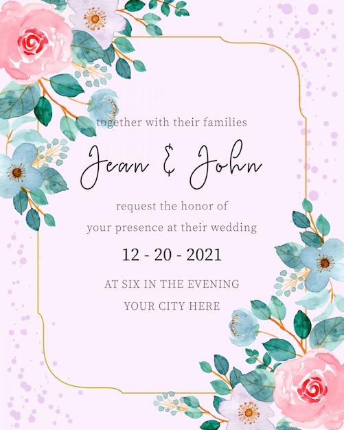 Szablon zaproszenia ślubne z akwarela kwiatowy Premium Wektorów