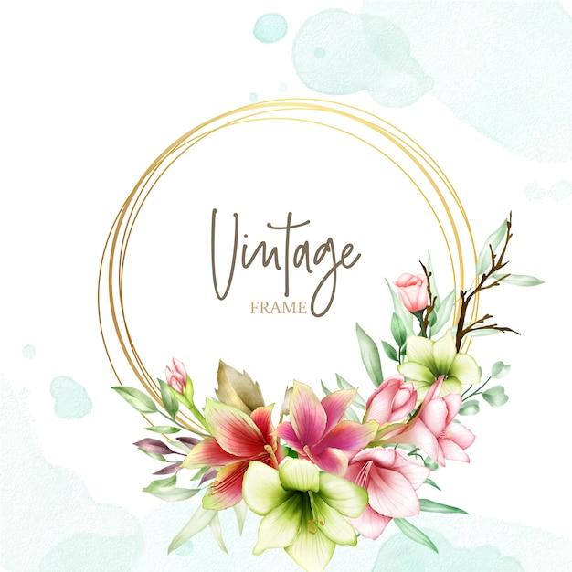 Szablon zaproszenia ślubne z akwarela kwiaty amarylis Premium Wektorów