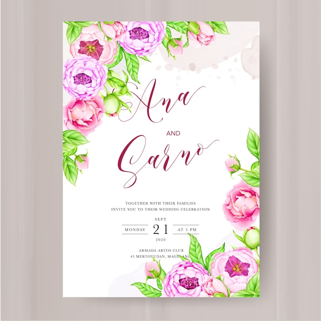 Szablon Zaproszenia ślubne Z Akwarela Piwonia Kwiaty Premium Wektorów