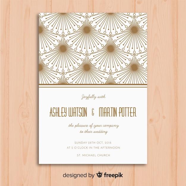 Szablon Zaproszenia ślubne Z Dekoracyjnych Koncepcji Art